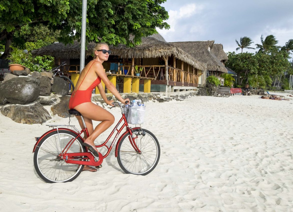 French Polynesia: Bora Bora Biking on the Beach in