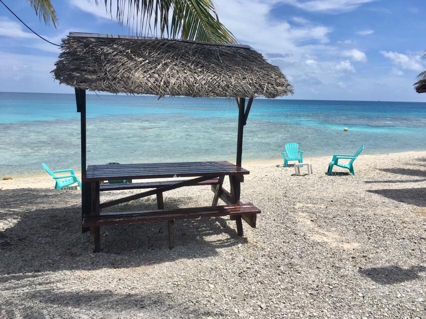 French Polynesia: Rangiroa Hostel beach view