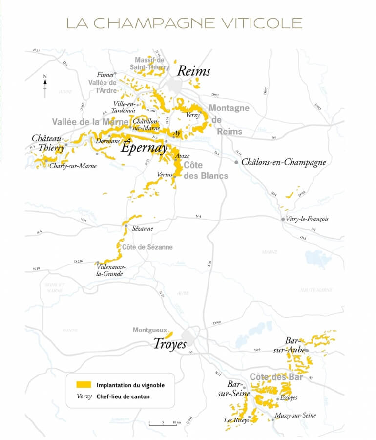 The Champagne region decided in multiple areas