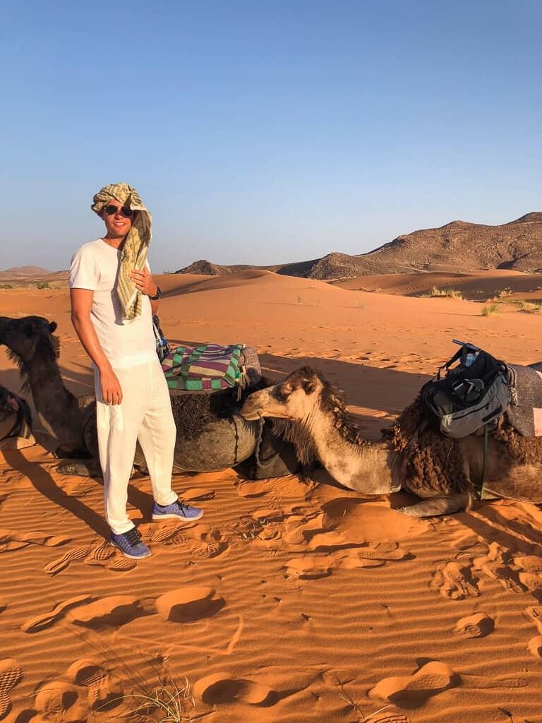 Morocco erg chebbi cameltrack