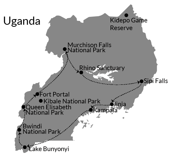 uganda route itinerary