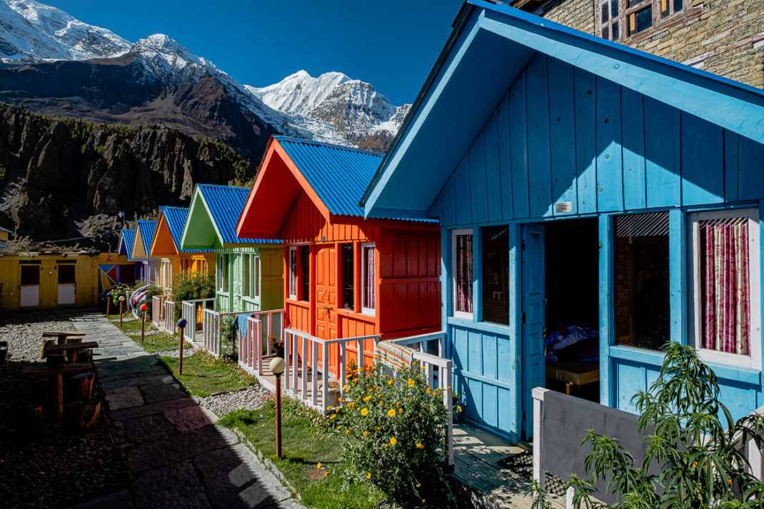 Manang colorful tea house, Annapurna Circuit, Nepal