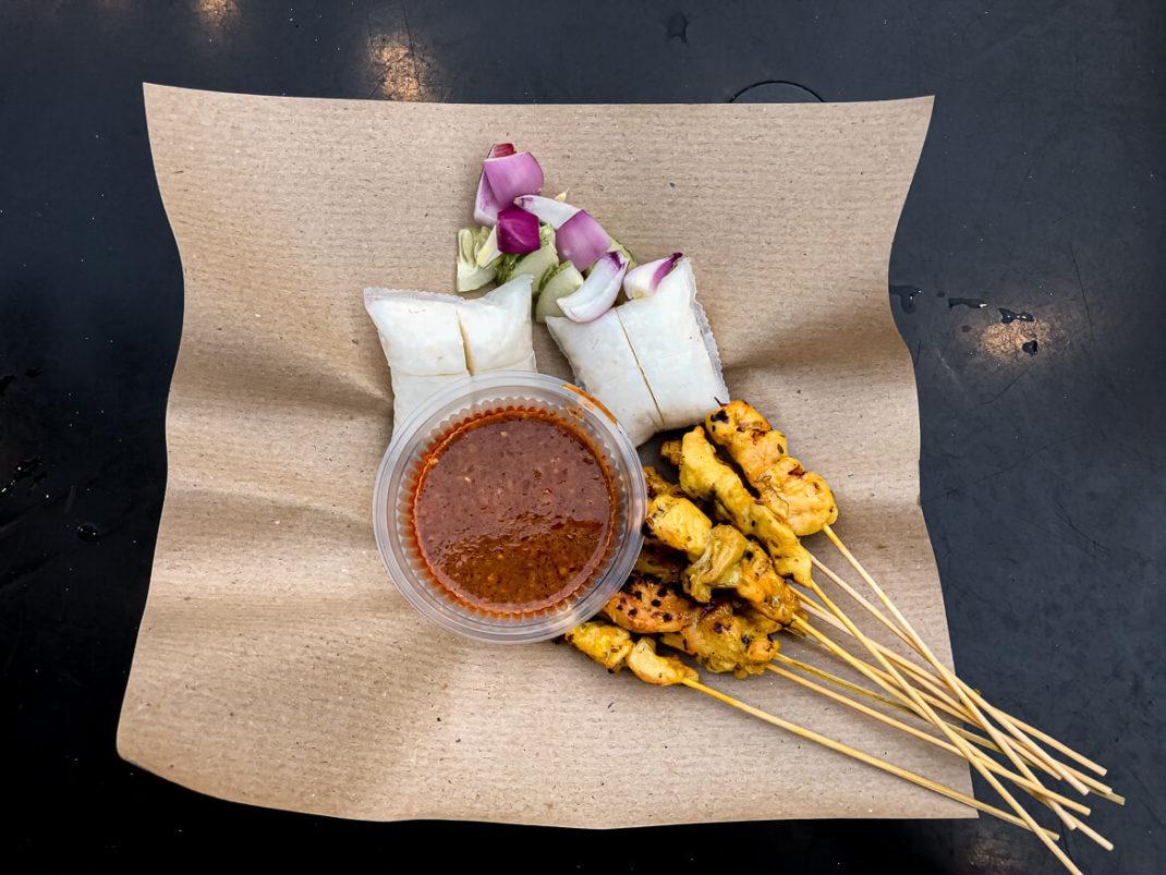 Local street food market Melaka Cicken sate