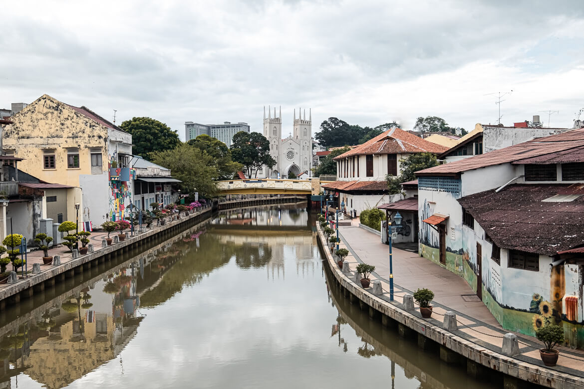 Malaysia Melaka Malacca River with view on church