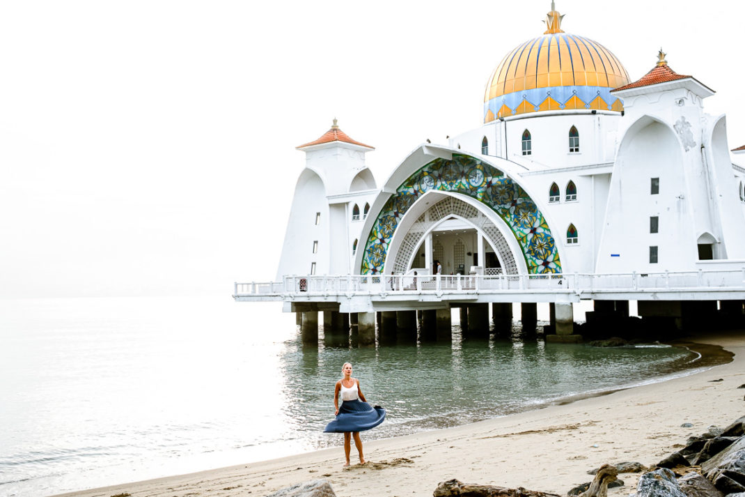 Melaka Strait Mosque Sunset