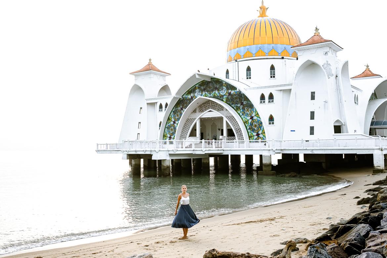 Melaka Strait Mosque Sunset Charlotte