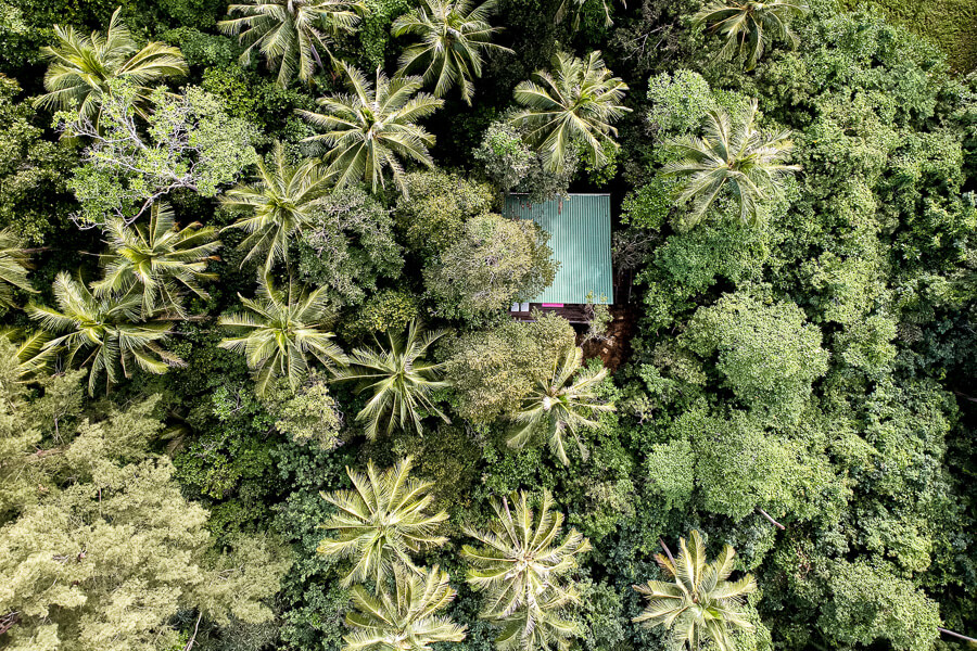 Drone shot Hibiscus Tree Top Lodge Tip of Borneo Sabah Malaysia