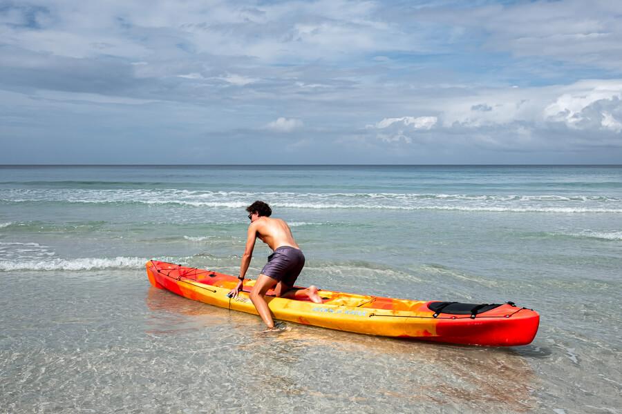 Kayaking at Hibiscus Beach Tip of Borneo Sabah Malaysia