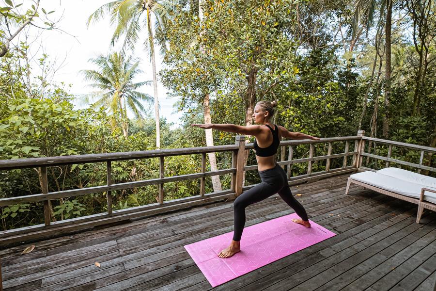 Yoga warrior 2 Tip of Borneo Sabah Malaysia