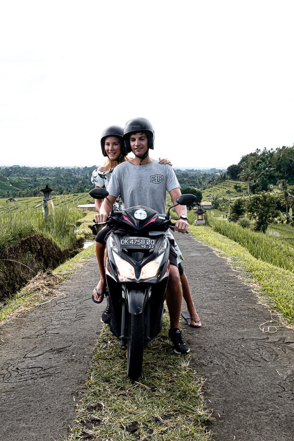 Biking through the rice fields of Jatiluwih with Charlotte Bali