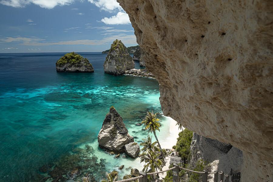 Diamond Beach stairs Nusa Penida Bali Indonesia