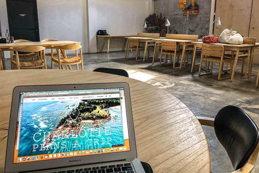 Kinships Coworing space with laptop Canggu Bali