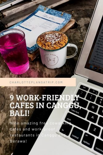 5 work-friend cafes for digital nomads in Canggu and Berawa in Bali; travel guide cowering, work-proof