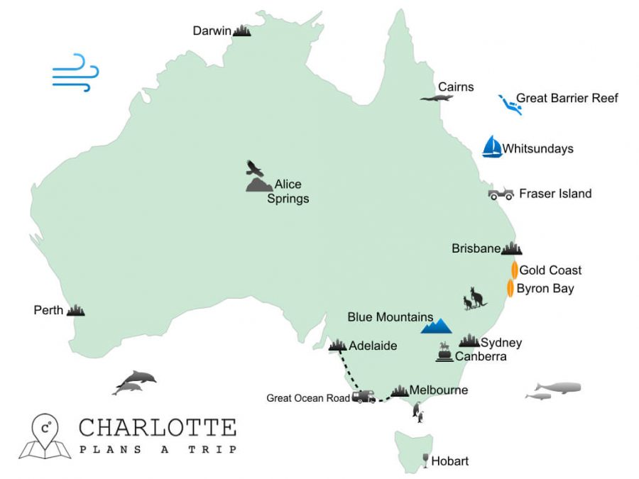 Top attractions of the East Coast of Australia Map of Australia Travel Guide
