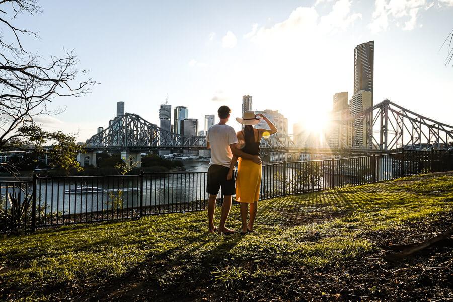 Brisbane sunset and city skyline