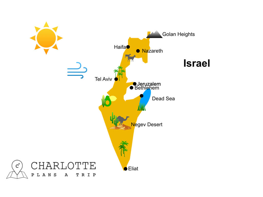Map of Israel with top attractions