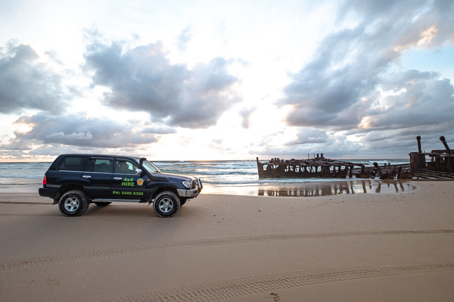 Rainbow Beach 4x4 rentals and shipwreck sunrise