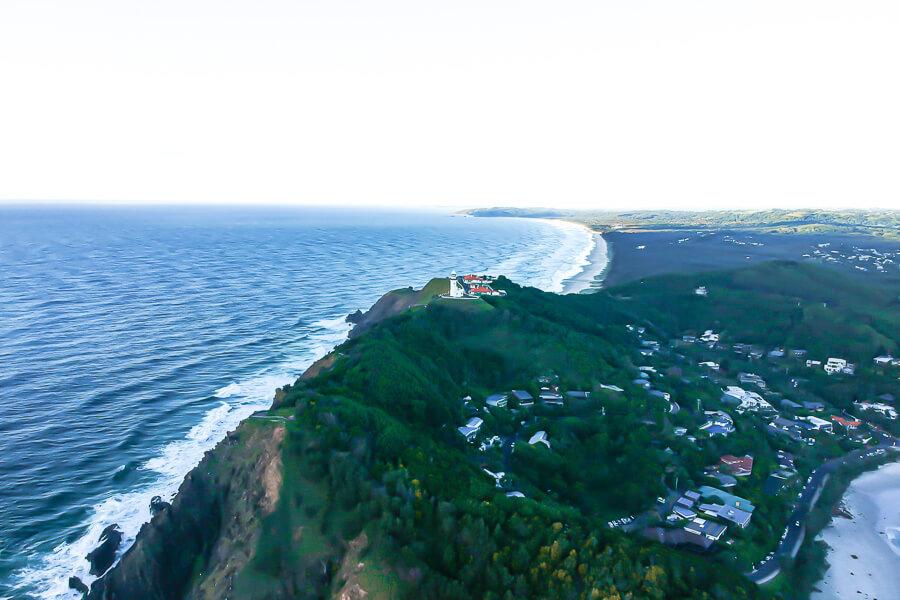 Travel blog Byron Bay Lighthouse drone sunrise