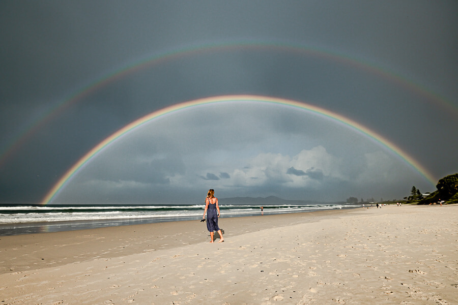 Travel blog Byron Bay double rainbow and Charlotte