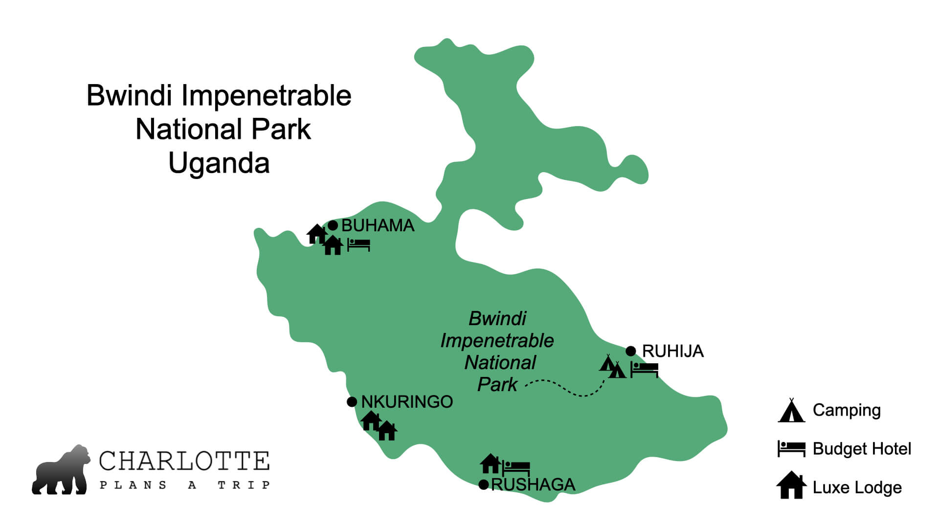 Bwindi Impenetrabel National Park sectors for gorilla trekking Uganda