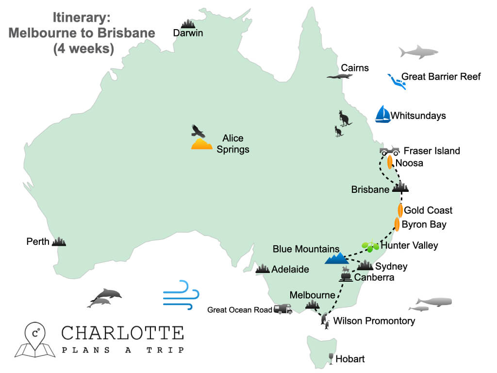 East Coast Australia itinerary Melbourne to Brisbane in 4 weeks.001