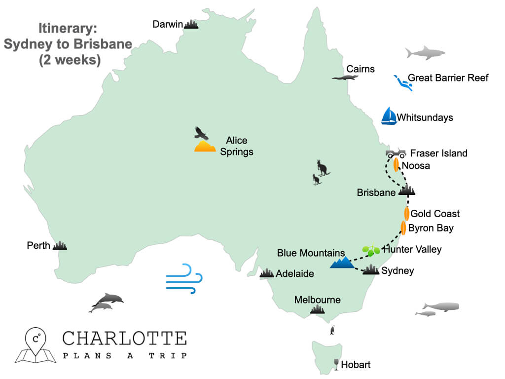 East Coast Australia itinerary Sydney to Brisbane in 2 weeks.001