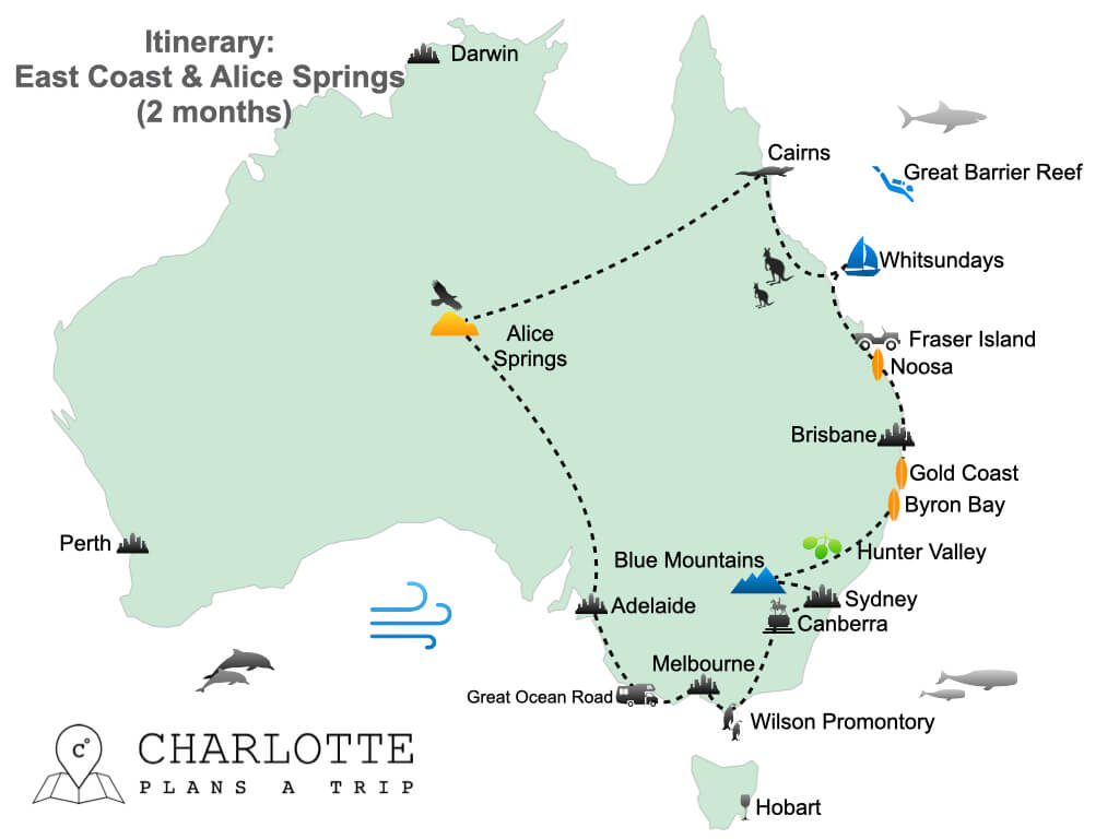 Itinerary East Coast Australia and Alice Springs in 2 months.001