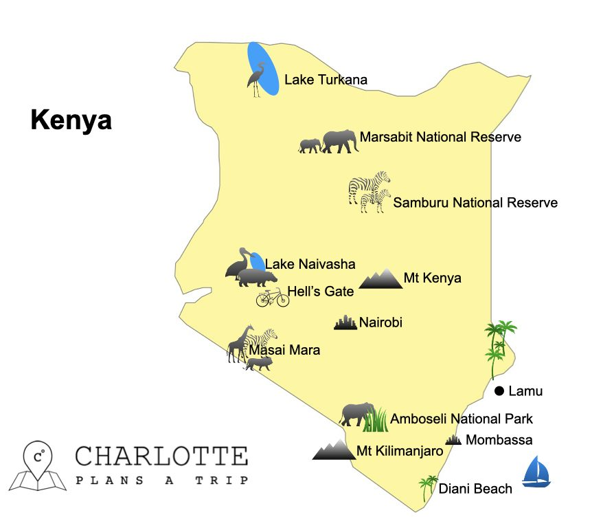 Map Kenya top attractions and national parks of Kenya