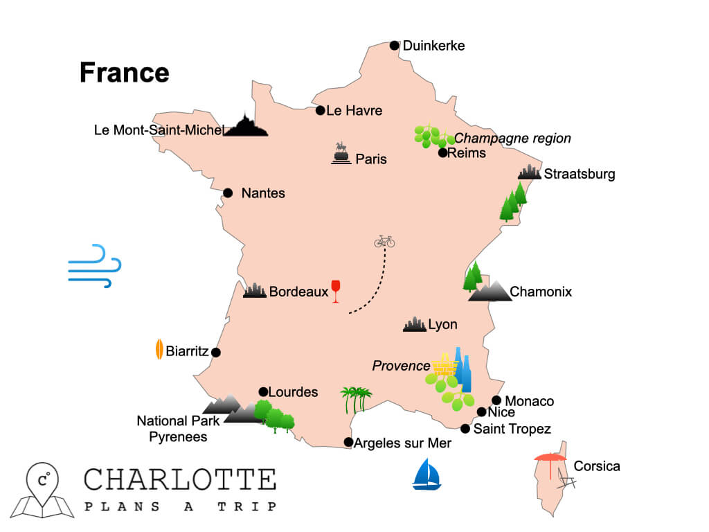 Map of France top attractions and highlights.001