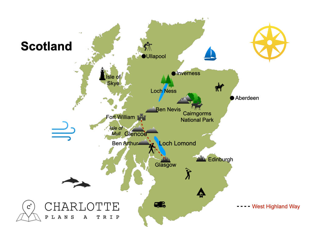 Map of Scotland top attractions and highlights