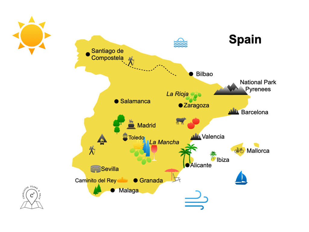Map of Spain attractions and highlights