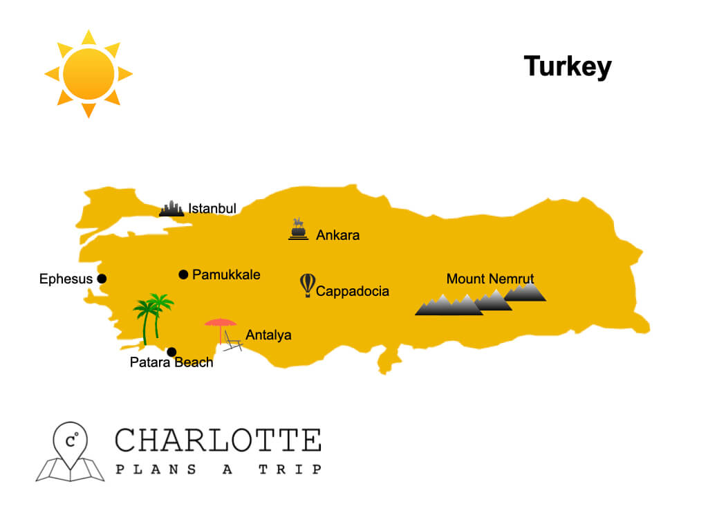Map of Turkey Top attractions and sights