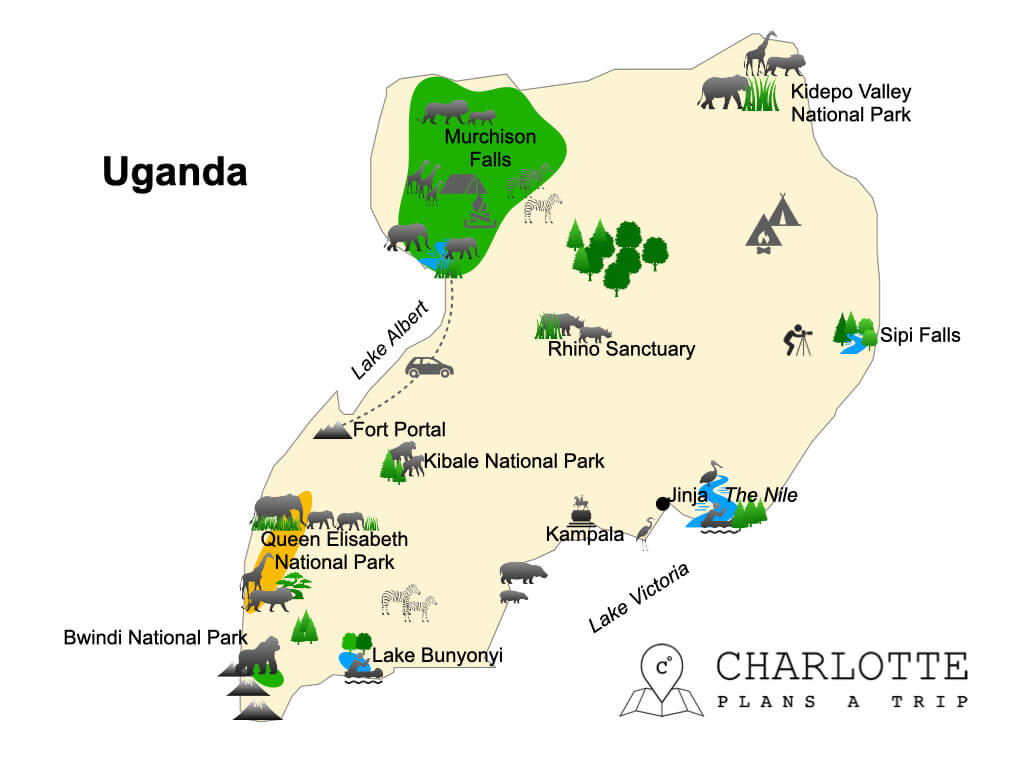 Map of Uganda National Parks and top attractions itinerary
