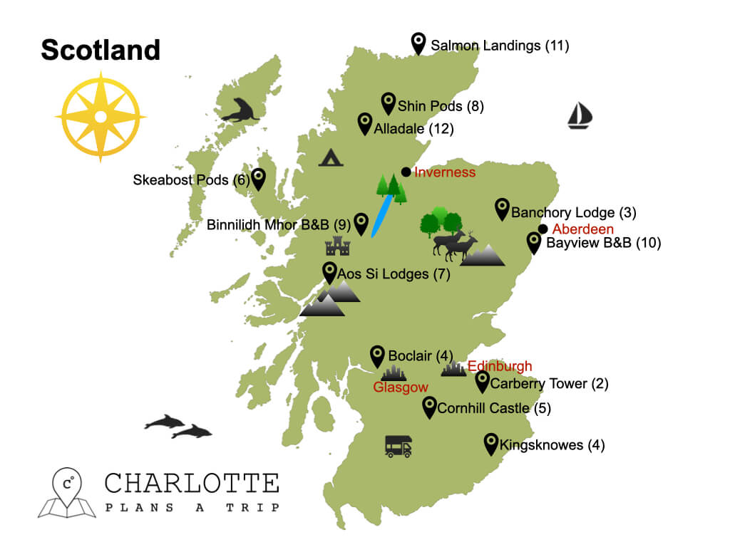 Map of the best hotels in Scotland.001