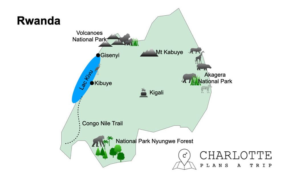 Rwanda Map top attractions and national parks