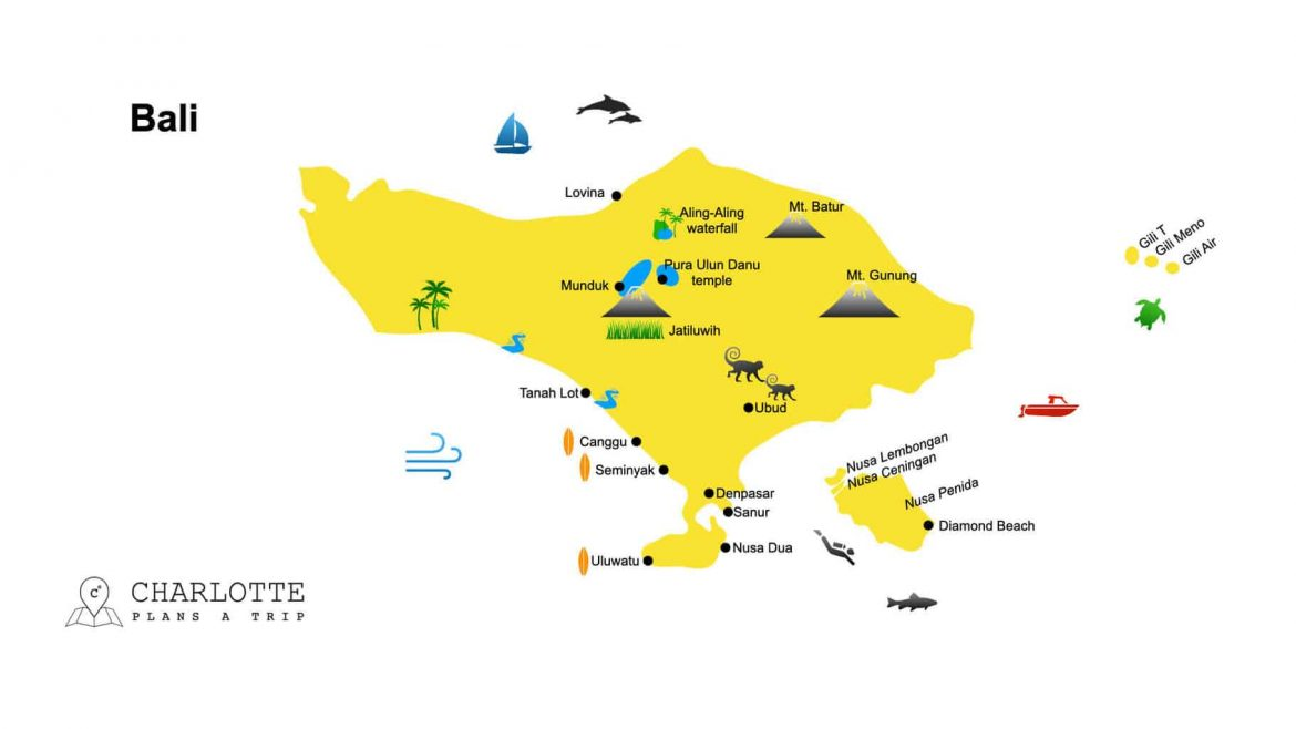 Map of Bali top attractions and highlights where to go in Bali