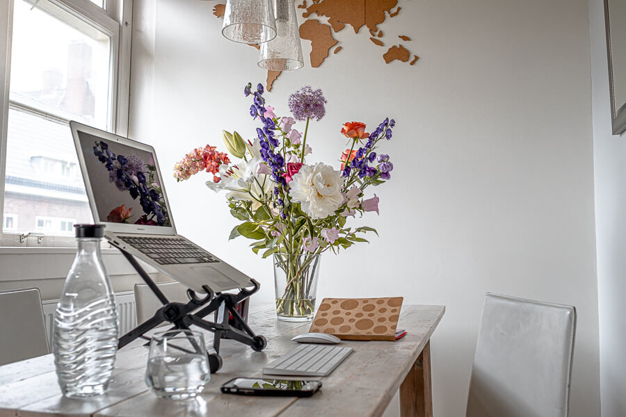Working home essentials flowers by Charlotte Plans a Trip