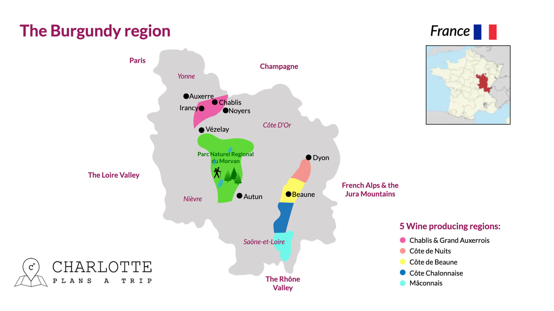Map of Burgundy Bourgogne including wine regions France
