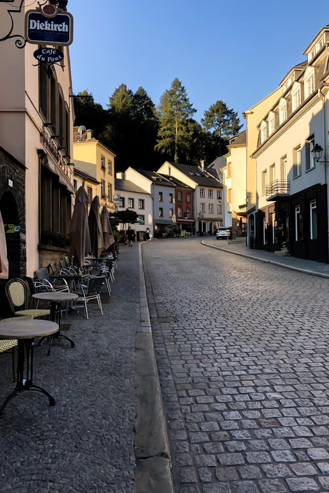 Sunny mornings in the main street of Vianden Luxembourg