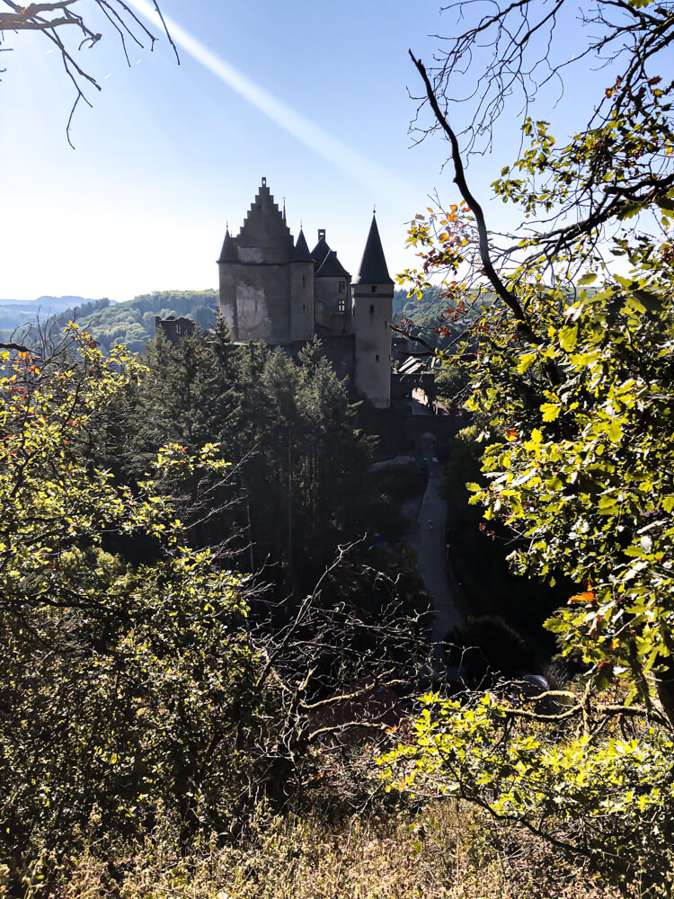 Vianden castle seen from the hiking trail Luxembourg