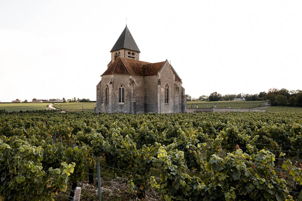 a small church among the vinyards Chablis France