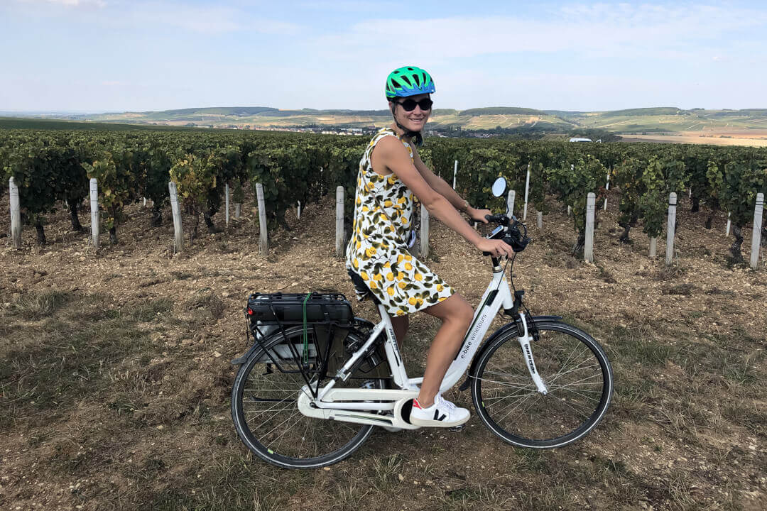 Charlotte on a e bike Chablis France
