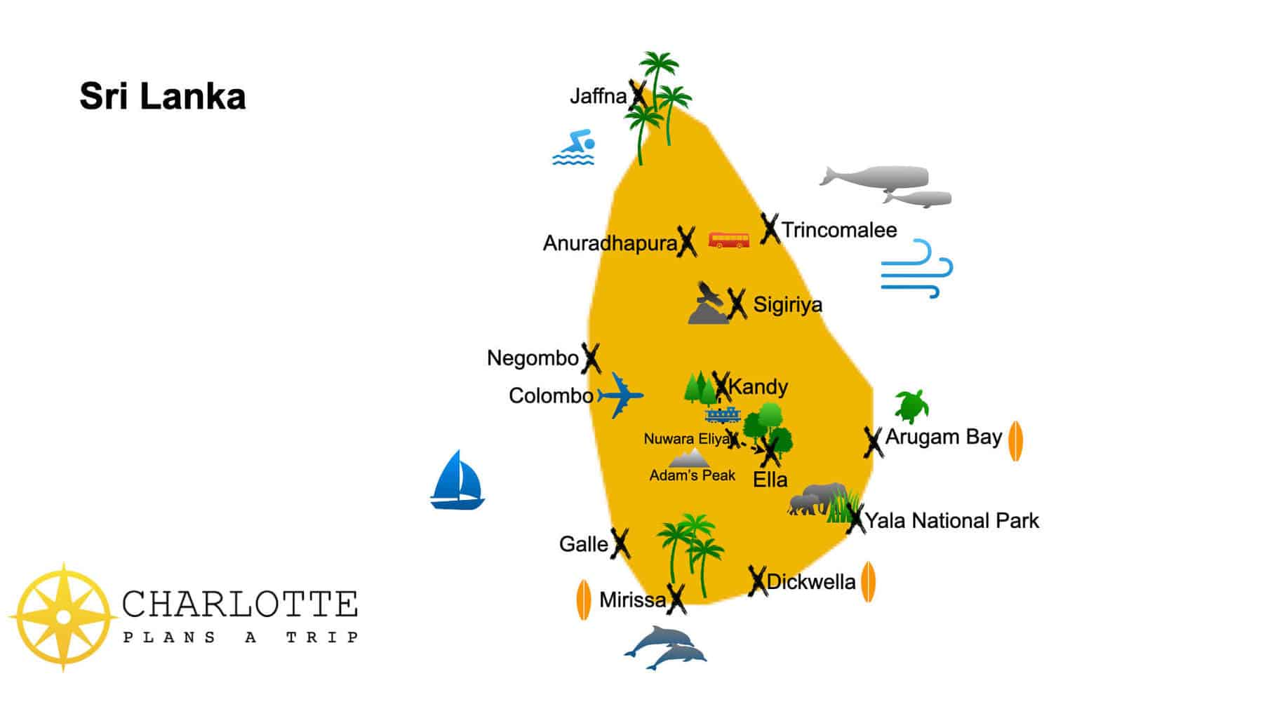 Map of top attractions of Sri Lanka What to visit in Sri Lanka