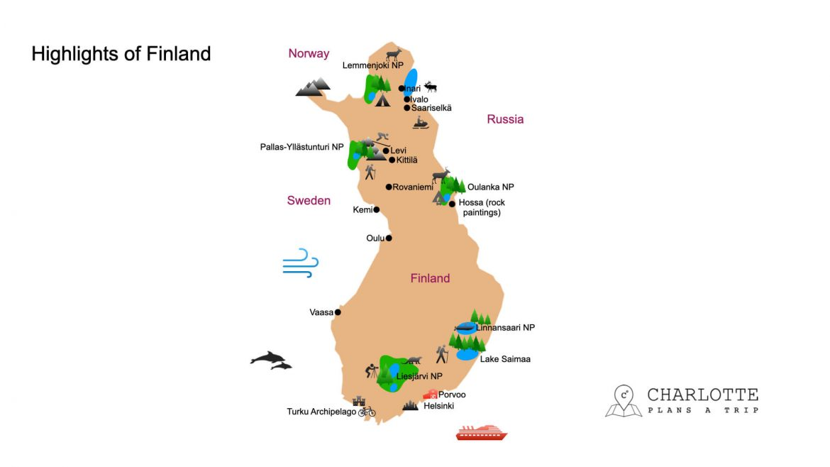 Map with highlights of Finland things to see and do