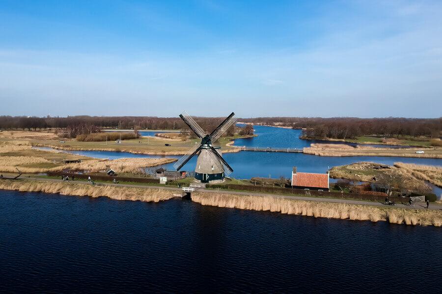 Windmolen het Twiske Oostzaan Noord Holland wandelroutes in Nederland