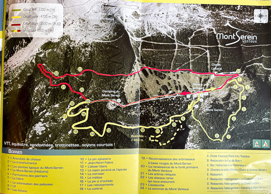 Hiking itinerary to summit of Mont Ventoux
